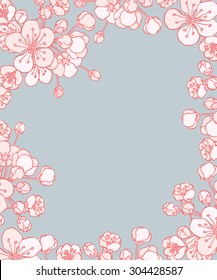 Vector cherry or sakura floral frame - for Save the date card, postcard, flyer or wedding invitation.