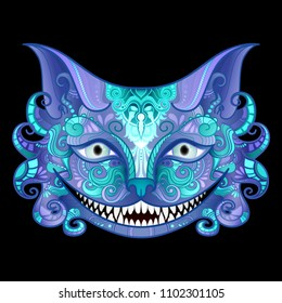 Vector Cheshire Cat Grin. Isolated Fictional Animal On Black Background