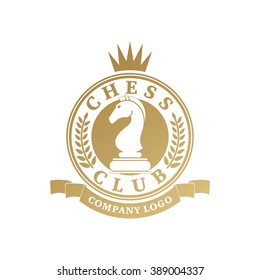 Vector chess clubs version of logo. Design for decoration tournaments, sports cups, business cards. Gold, white.