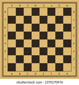 Vector chess field in beige and black colors with numbers