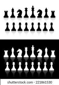 Vector chess icons silhouettes on white and black background