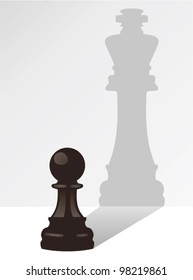 vector chess pawn with the shadow of a king