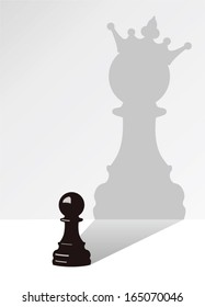 vector chess pawn with the shadow of the same pawn, but with a crown
