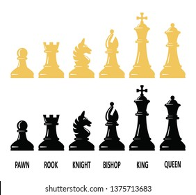 vector chess piece set for logo design. pawn, rook, knight, bishop, king and queen black and white chess symbols isolated on white background.