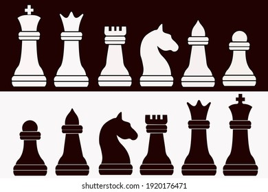 Vector Chess Pieces Silhouette - Black And White Set - modern and simple flat symbol for website - King, queen, rook, bishop, pawn