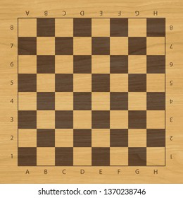 Vector chess wooden field with numbers and letters