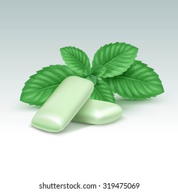 Vector Chewing Gum with Fresh Mint Leaves Isolated on White Background