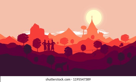 Vector Chiangmai Thailand Landscape and Thai Temple and Buddha statue. Flat Design