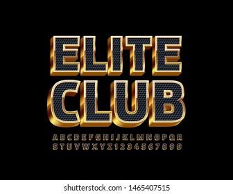 Vector chic banner Elite Club. Golden Alphabet Letters, Numbers and Symbols. 3D Elegant Font.