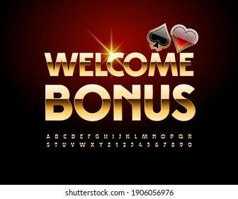 Vector chic banner Welcome Bonus. Gold Elegant Font. Shiny elite Alphabet Letters and Numbers set