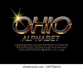 Vector Chic Black and Golden Alphabet. 3D luxury Font. Stylish elegant Letters, Numbers and Symbols