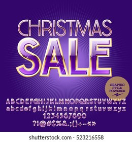 Vector chic  Christmas sale emblem with set of letters, symbols and numbers. File contains graphic styles