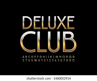 Vector chic emblem Deluxe Club. Uppercase Golden Font. Shiny Alphabet Letters and Numbers