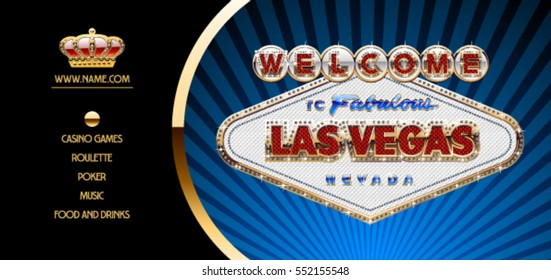 Vector chic flyer with fabulous Las Vegas signboard for night party in royal casino