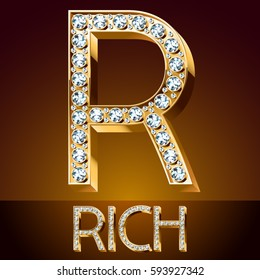 Vector chic font luxury brilliant. Gold letter R