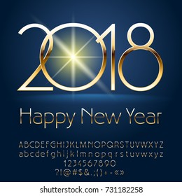 Vector chic Happy New Year 2018 greeting card with Alphabet set of Letters, Symbols and Numbers. Golden Font contains Graphic Style