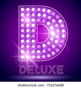 Vector chic light up Alphabet set. Luxury Graphic Font. Letter D