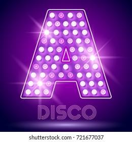 Vector chic light up Alphabet set. Luxury Graphic Font. Letter A
