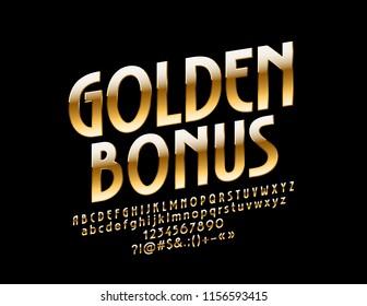 Vector Chic Logo Golden Bonus. Rich royal Font. Luxury Exclusive Alphabet Letters, Numbers and Symbols.