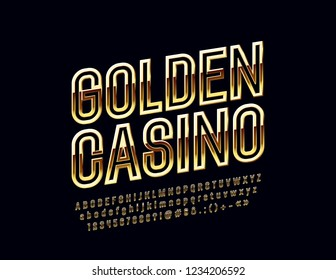 Vector chic Logo Golden Casino. Rotated bright Font. Glossy Alphabet Letters, Numbers and Symbols.