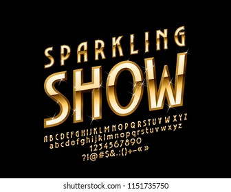 Vector Chic Logo Sparkling Show. Golden Luxury Font.