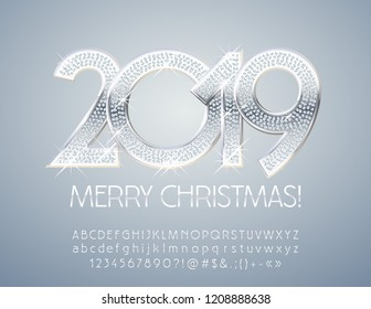 Vector chic Merry Christmas 2019 Greeting Card. Silver set of Alphabet Letters, Numbers and Symbols. Stylish Elegant Font.