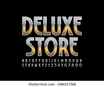 Vector chic Sign Deluxe Store. Elegant stylish Font. Golden Alphabet Letters and Numbers.