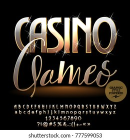 Vector chic sparkling logo Casino Games. Luxury golden Alphabet Letters, Numbers and Punctuation Symbols. Elite Font with Graphic style