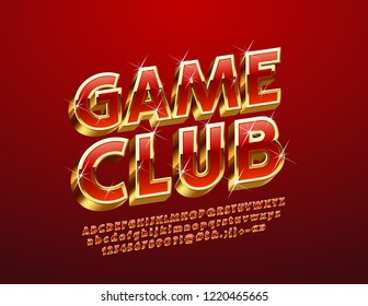 Vector chic sparkling logo Game Club. Luxury red and golden Alphabet Letters, Numbers and Punctuation Symbols. Elite 3D Font.