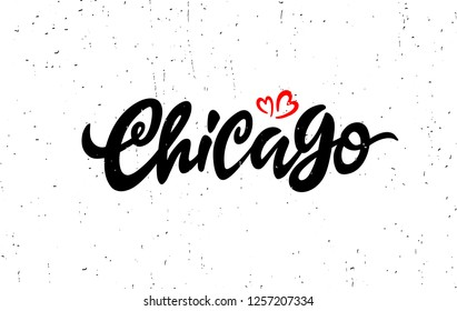 """Vector """"Chicago"""" hand lettering.Illinois. Vector hand castom calligraphy for your designs: logo, for posters, invitations, cards, etc. Typography vector. - Vector"""