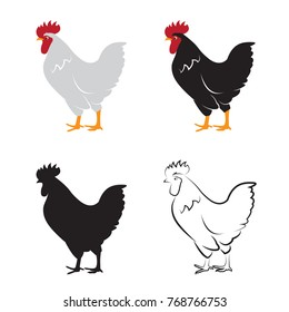 Vector of chicken design on white background. Hen. Farm Animals.