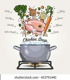 Vector Chicken Soup Ingredients Falling Down to Pot with Boiling Water
