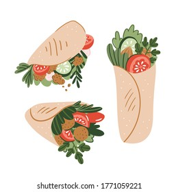 Vector chicken, vegetables roll, fast food meal. Doner kebab, shawarma flat cartoon illustration isolated on a white background. Arabic, eastern food, hand drawn image. Buritto, taco - mexican food.