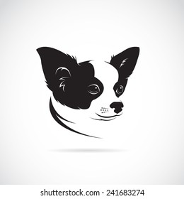Vector of a chihuahua dog head design on white background. Pet. Animal. Easy editable layered vector illustration.