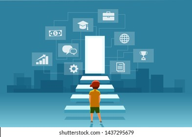 Vector of a child, a boy looking at the stairs leading to the door of modern digital world. Concept of self realization, education and career success