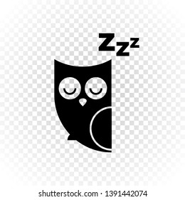 Vector child cartoon character illustration. A cute black sleeping owl with zzz text and closed eyes on transparent. Concept of trying to sleep, insomnia, dream, relax. Design for logo, icon, web.