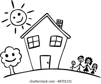 vector child drawing of happy family and house
