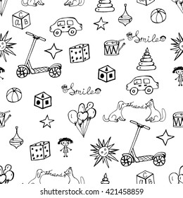 Vector child hand drawn pattern. Doodles kids design elements. Sketch toys and others symbols of childhood. Hand drawing toys.  Black sketch icons. Background with children's doodles.