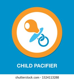 vector Child pacifier symbol, childhood illustration isolated - kid rubber toy