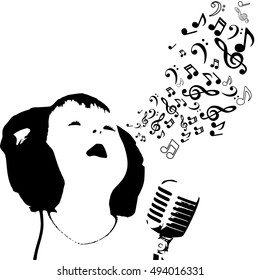 Vector - child singing song, retro microphone and sheets