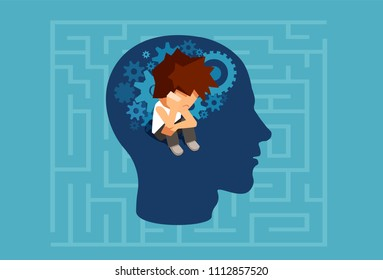 Vector of a child subconscious mind of an adult man concept