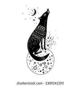 Vector childish hand-drawn illustration. Wolf sitting on a planet in space and howling at the moon. Black and white.