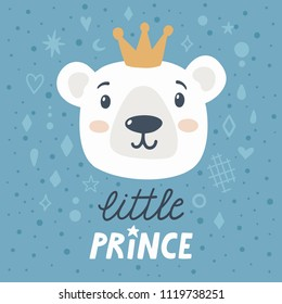 """Vector childish poster with cute bear and text """"Little prince"""". Poster for kids with cartoon character and hand written text. Blue background with polar bear and the golden crown."""