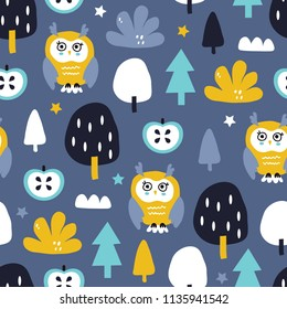 Vector childish scandinavian pattern with cute animal for nursery design, textiles