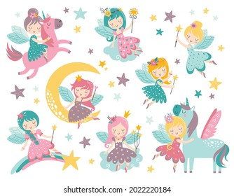 Vector childish set with fairy, stars, moon, unicorn and other elements. Fairy with a magic wand vector illustration. Cartoon fairy for kids, girl.