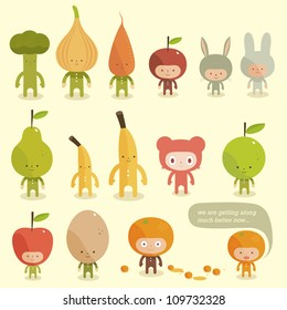 Vector Children in costumes fruit and rabbits
