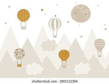 Vector children hand drawn doodle mountain illustration in scandinavian style. Mountain landscape, clouds, air balloons and cute moon. Kids wallpaper. Mountainscape, baby room design, wall decor.