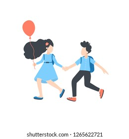 Vector children running and holding hands, summer\spring outdoor activities. Children flat cartoon characters isolated on white background. Vector illustration.