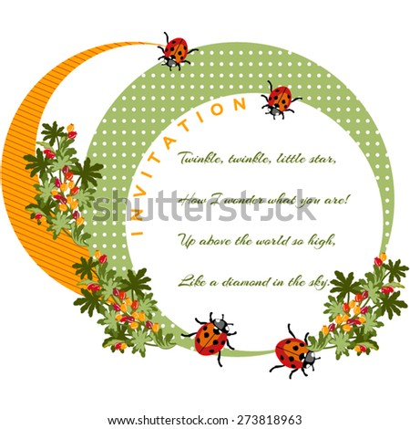 Childrens Birthday Invitation Card In A Decorative Circle With Berries And Ladybirds