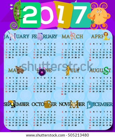 Vector Childrens Calendar 2017 Animals Monsters Stock Vector